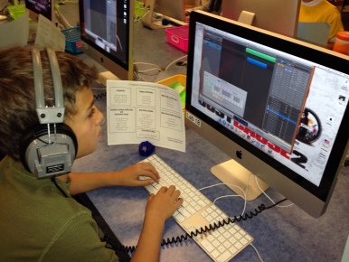 4th Grader Typing with GarageBand